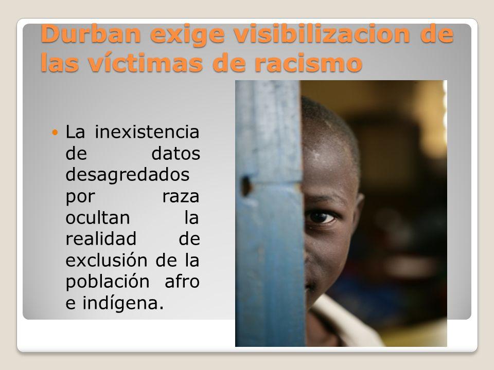Durban exige visibilizacion de las víctimas de racismo La inexistencia de datos desagredados por raza ocultan la realidad de exclusión de la población