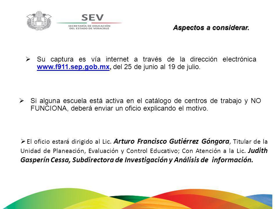 Aspectos a considerar. Su captura es vía internet a través de la dirección electrónica www.f911.sep.gob.mx, del 25 de junio al 19 de julio. www.f911.s