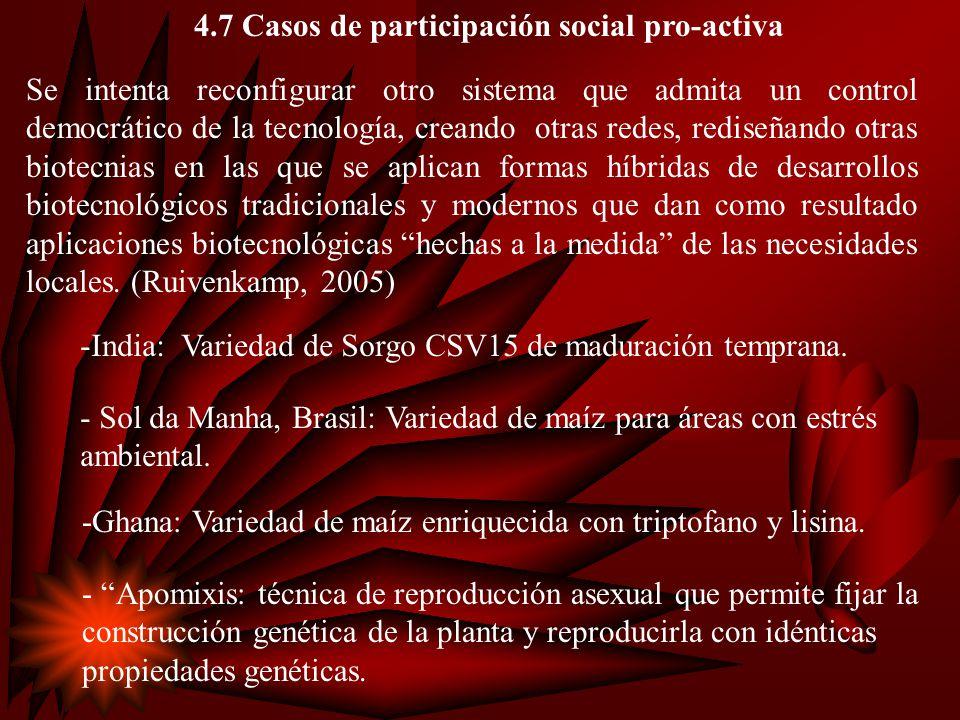 4.Evidencias empíricas de que se está ampliando la base de control social en agrobiotecnología.