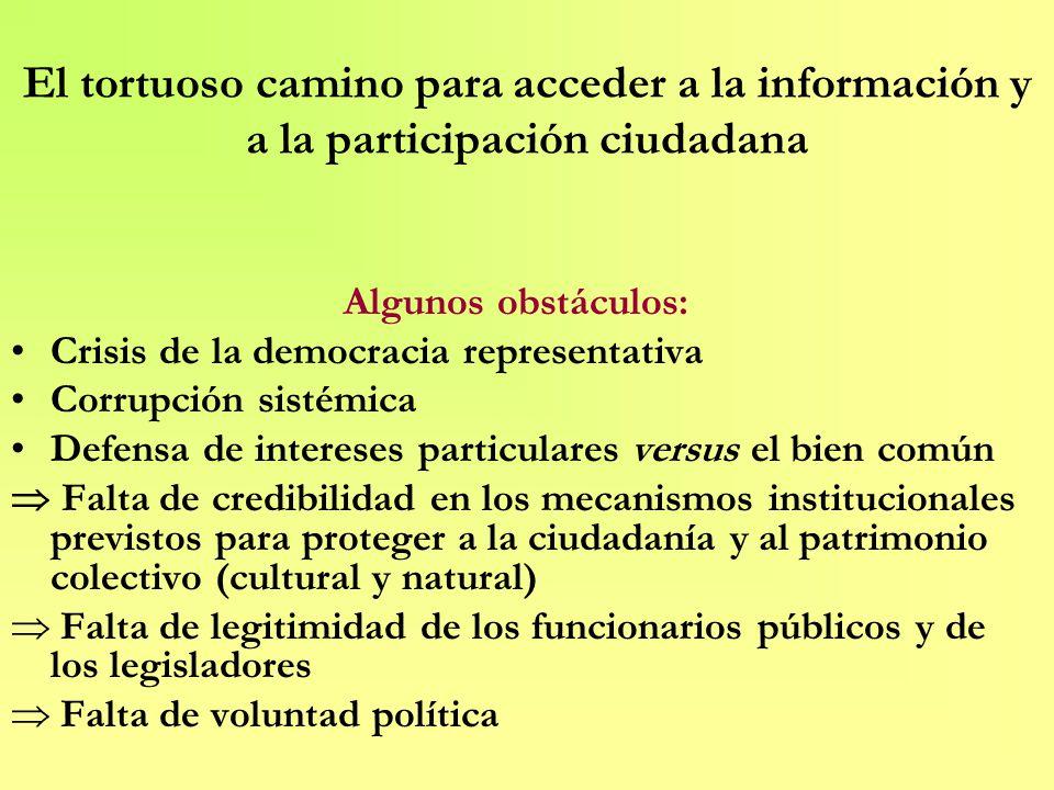 El tortuoso camino para acceder a la información y a la participación ciudadana Algunos obstáculos: Crisis de la democracia representativa Corrupción