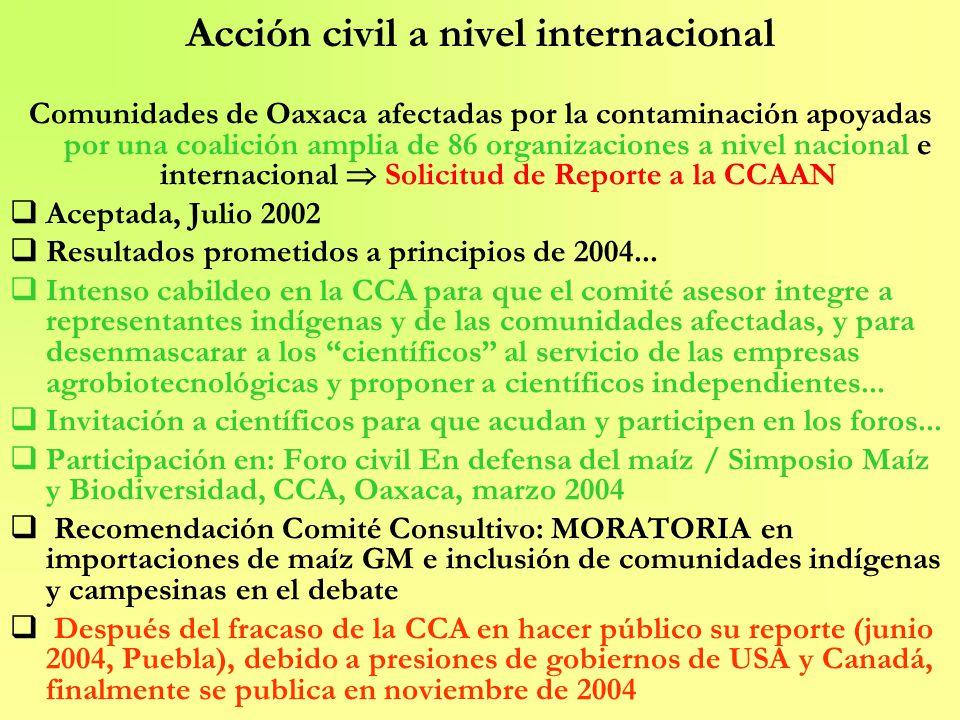 Acción civil a nivel internacional Comunidades de Oaxaca afectadas por la contaminación apoyadas por una coalición amplia de 86 organizaciones a nivel
