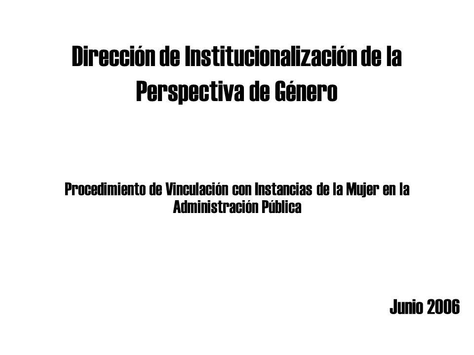 Dirección de Institucionalización de la Perspectiva de Género Junio 2006 Procedimiento de Vinculación con Instancias de la Mujer en la Administración Pública