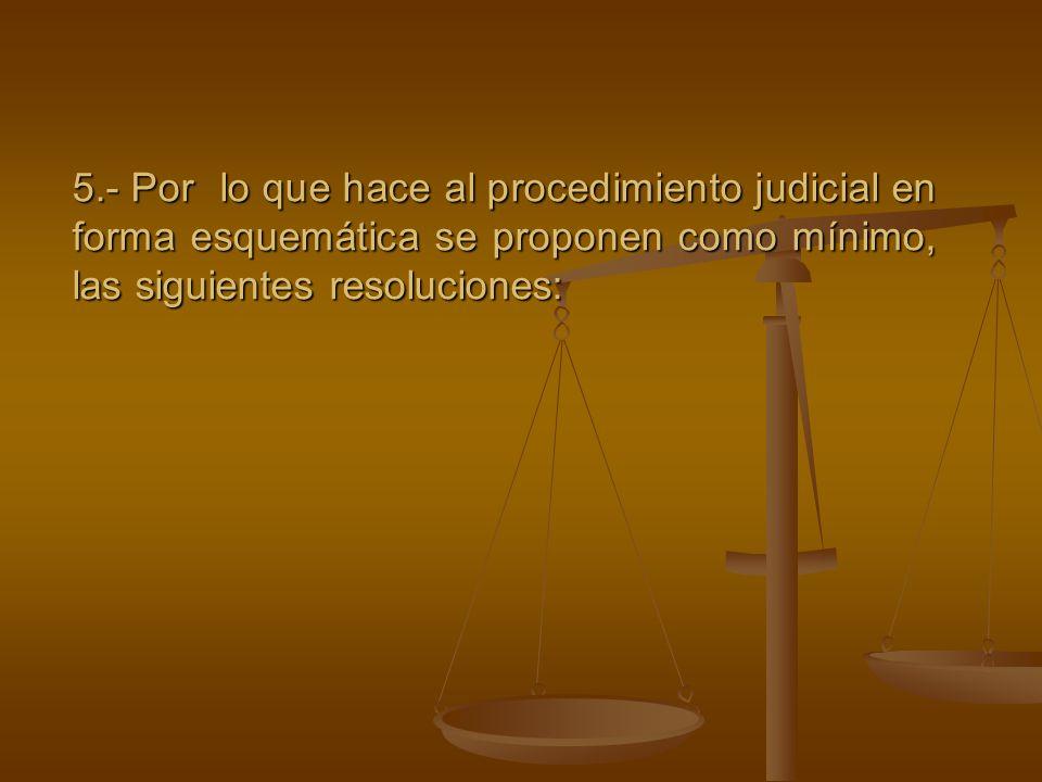 5.- Por lo que hace al procedimiento judicial en forma esquemática se proponen como mínimo, las siguientes resoluciones: