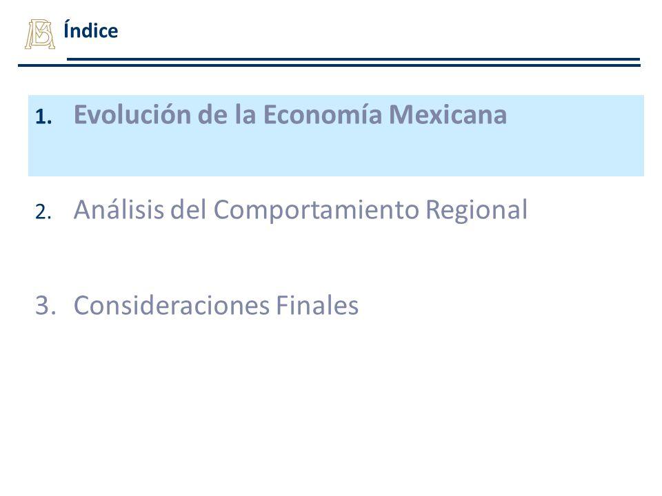 Índice 1. Evolución de la Economía Mexicana 2. Análisis del Comportamiento Regional 3.Consideraciones Finales