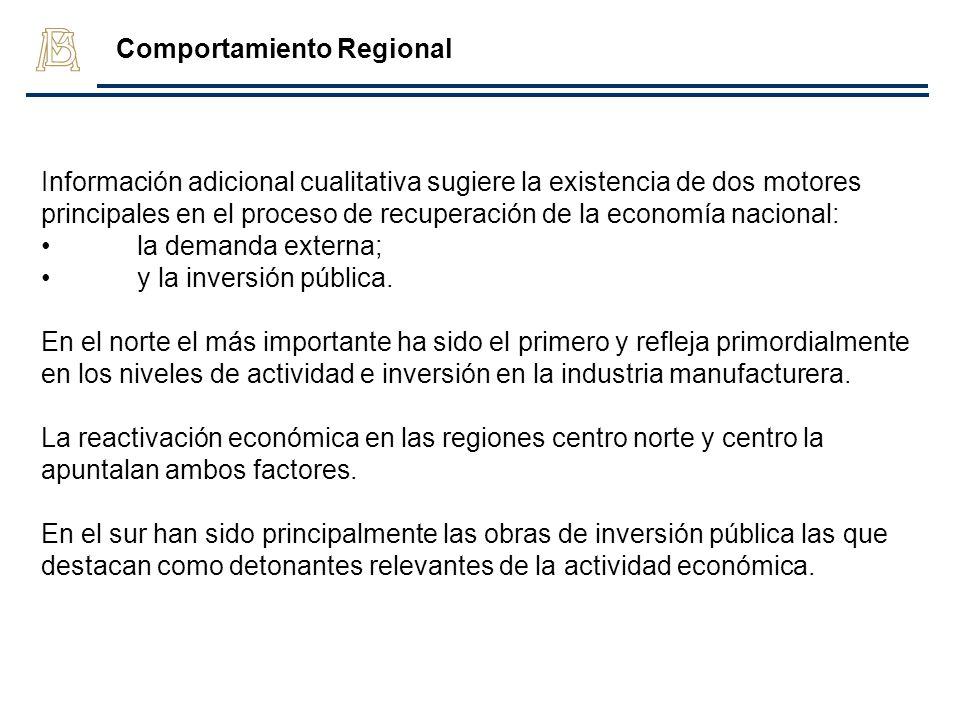Información adicional cualitativa sugiere la existencia de dos motores principales en el proceso de recuperación de la economía nacional: la demanda e