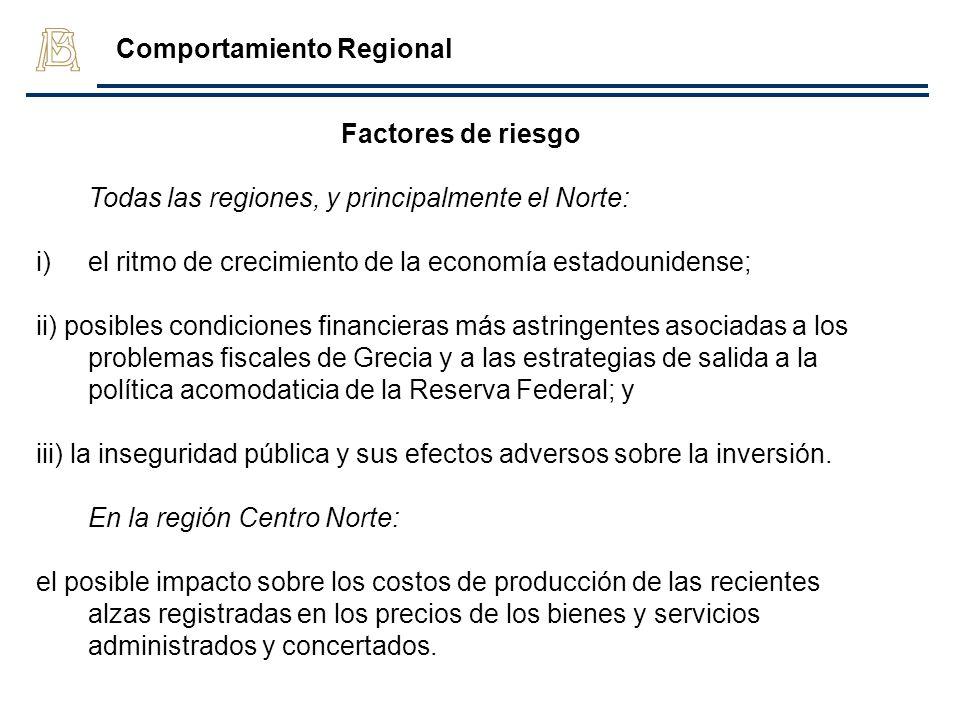 Factores de riesgo Todas las regiones, y principalmente el Norte: i)el ritmo de crecimiento de la economía estadounidense; ii) posibles condiciones fi