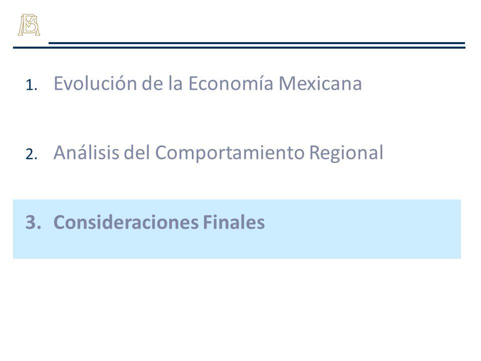 1. Evolución de la Economía Mexicana 2. Análisis del Comportamiento Regional 3.Consideraciones Finales