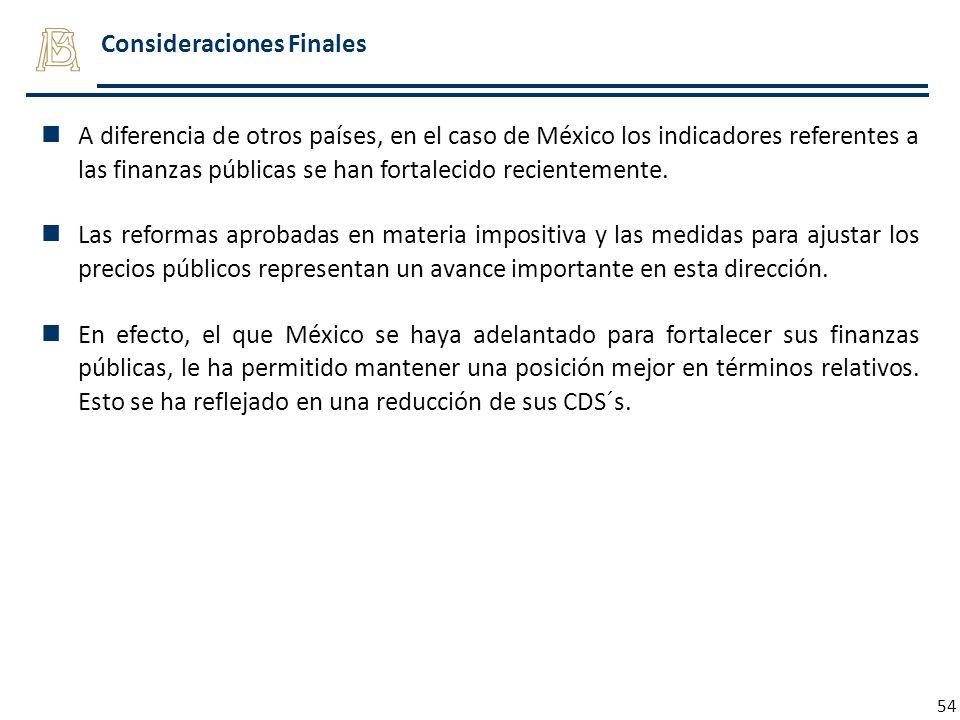 54 Consideraciones Finales A diferencia de otros países, en el caso de México los indicadores referentes a las finanzas públicas se han fortalecido re