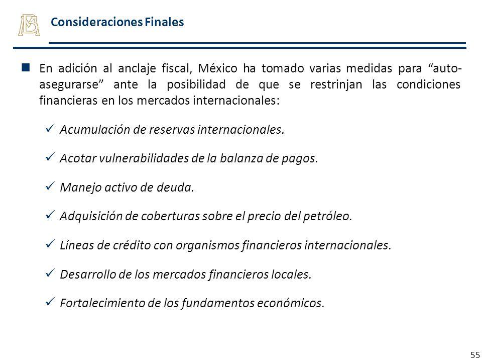 55 Consideraciones Finales En adición al anclaje fiscal, México ha tomado varias medidas para auto- asegurarse ante la posibilidad de que se restrinja