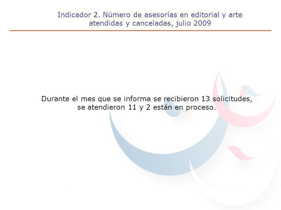 Indicador 2. Número de asesorías en editorial y arte atendidas y canceladas, julio 2009 Durante el mes que se informa se recibieron 13 solicitudes, se
