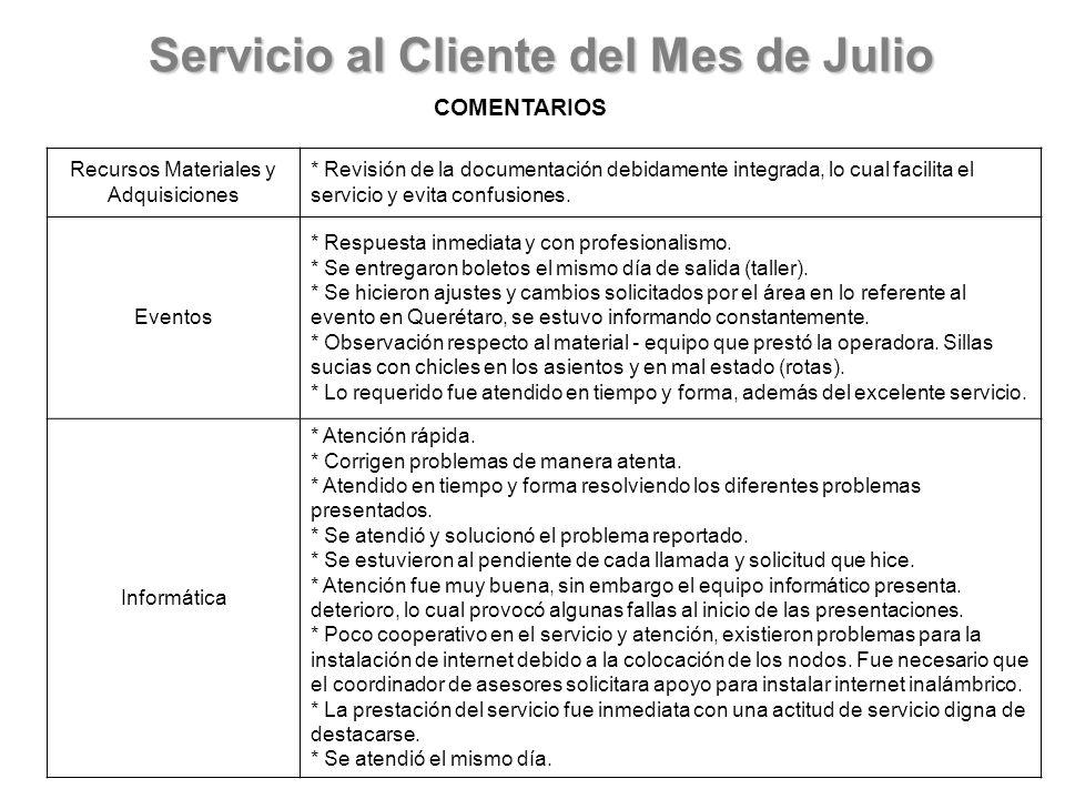 Servicio al Cliente del Mes de Julio COMENTARIOS Servicios Generales * Las publicaciones que se encontraban en los pasillos se llevaron a la bodega para su resguardo.