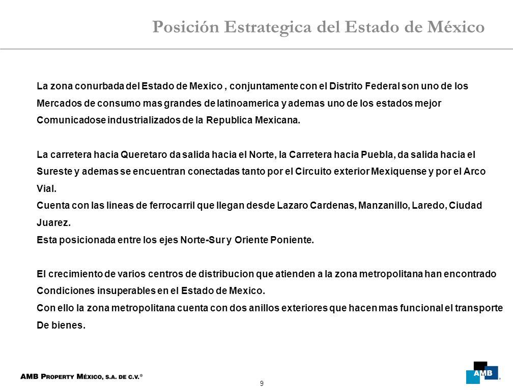 9 La zona conurbada del Estado de Mexico, conjuntamente con el Distrito Federal son uno de los Mercados de consumo mas grandes de latinoamerica y ademas uno de los estados mejor Comunicadose industrializados de la Republica Mexicana.