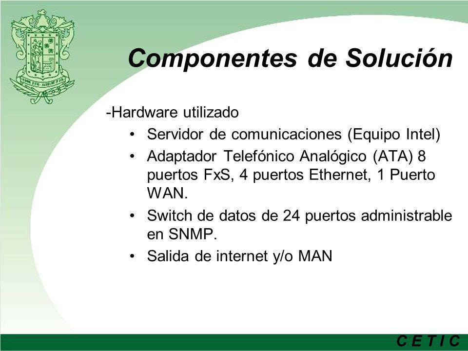 C E T I C Componentes de Solución -Hardware utilizado Servidor de comunicaciones (Equipo Intel) Adaptador Telefónico Analógico (ATA) 8 puertos FxS, 4 puertos Ethernet, 1 Puerto WAN.