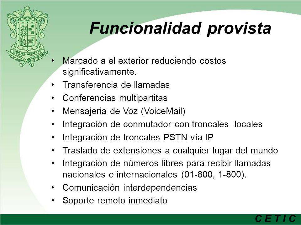 C E T I C Funcionalidad provista Marcado a el exterior reduciendo costos significativamente. Transferencia de llamadas Conferencias multipartitas Mens