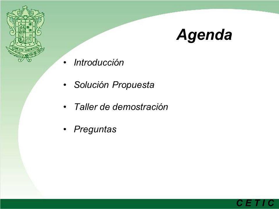 C E T I C Agenda Introducción Solución Propuesta Taller de demostración Preguntas