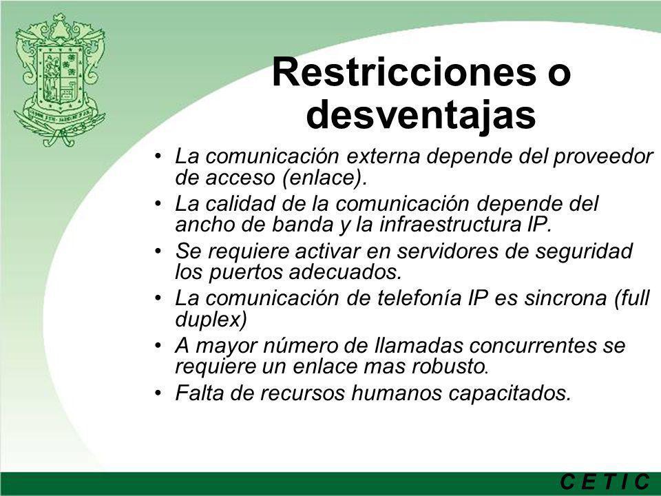 C E T I C Restricciones o desventajas La comunicación externa depende del proveedor de acceso (enlace). La calidad de la comunicación depende del anch