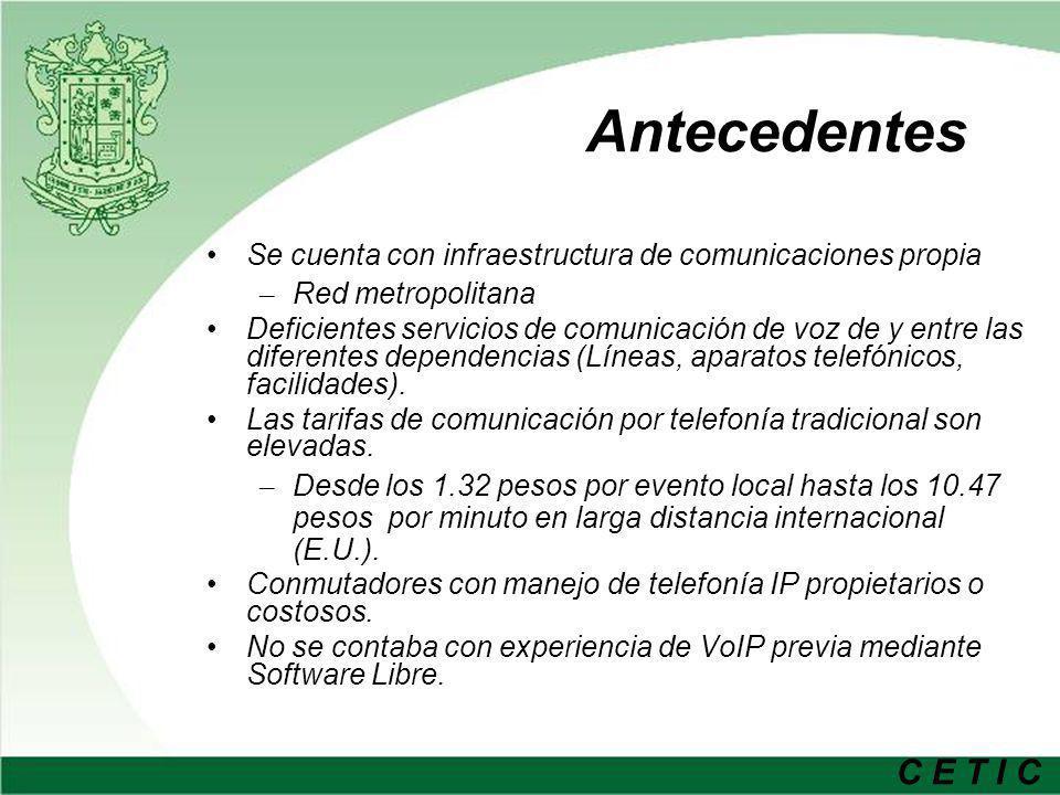 C E T I C Antecedentes Se cuenta con infraestructura de comunicaciones propia – Red metropolitana Deficientes servicios de comunicación de voz de y en