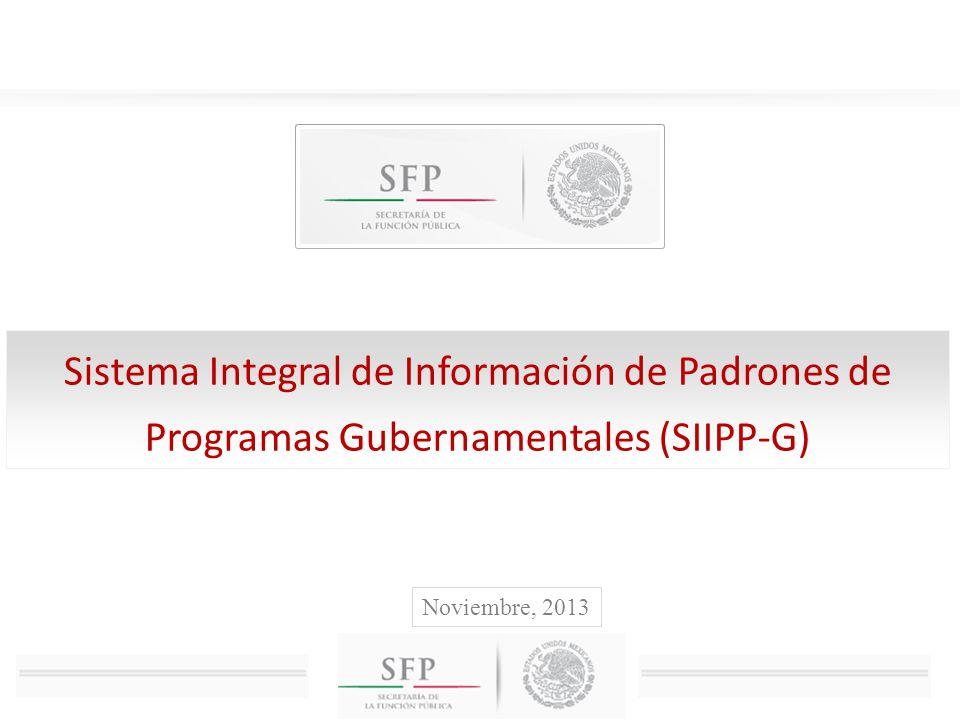 Contenido I.Sistema Integral de Información de Padrones de Programas Gubernamentales (SIIPP-G) II.Programas a cargo de las dependencias y entidades del Gobierno Federal III.Servicios y productos obtenidos con el SIIPP-G IV.Importancia de incorporación de padrones de beneficiarios de programas estatales