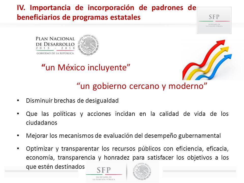 un México incluyente un gobierno cercano y moderno Disminuir brechas de desigualdad Que las políticas y acciones incidan en la calidad de vida de los