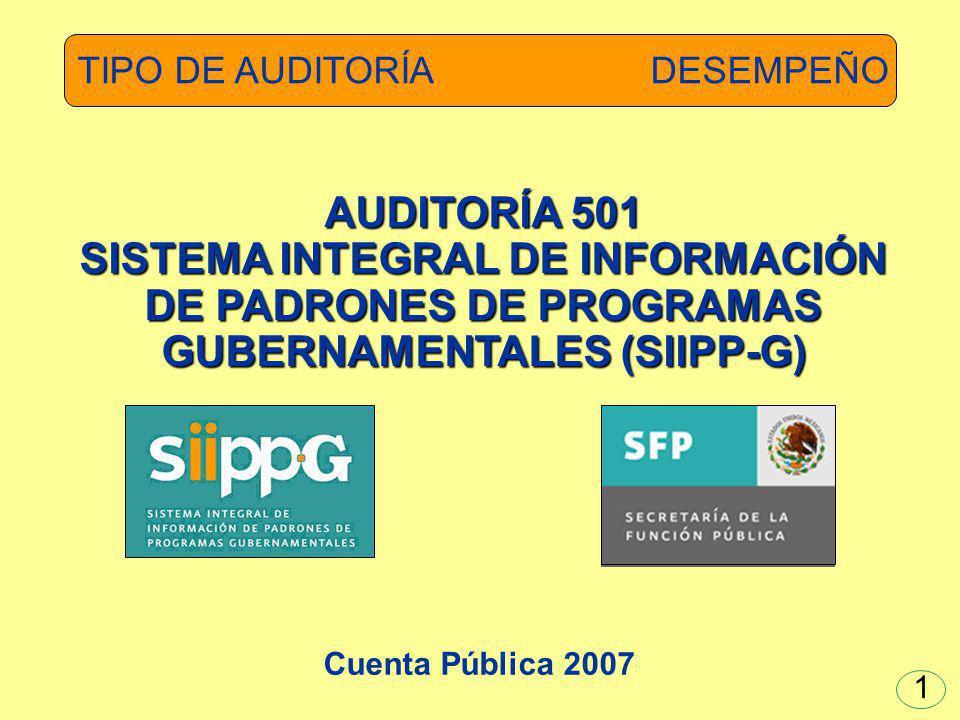 AUDITORÍA 501 SISTEMA INTEGRAL DE INFORMACIÓN DE PADRONES DE PROGRAMAS GUBERNAMENTALES (SIIPP-G) TIPO DE AUDITORÍA DESEMPEÑO Cuenta Pública 2007 1