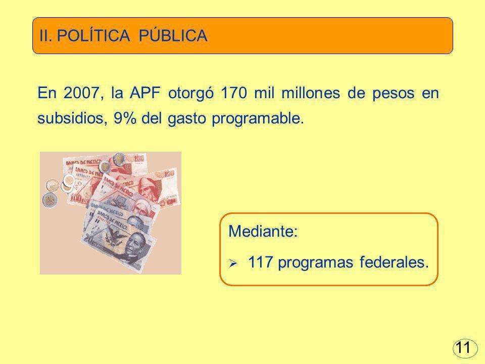 Mediante: 117 programas federales. En 2007, la APF otorgó 170 mil millones de pesos en subsidios, 9% del gasto programable. II. POLÍTICA PÚBLICA 11