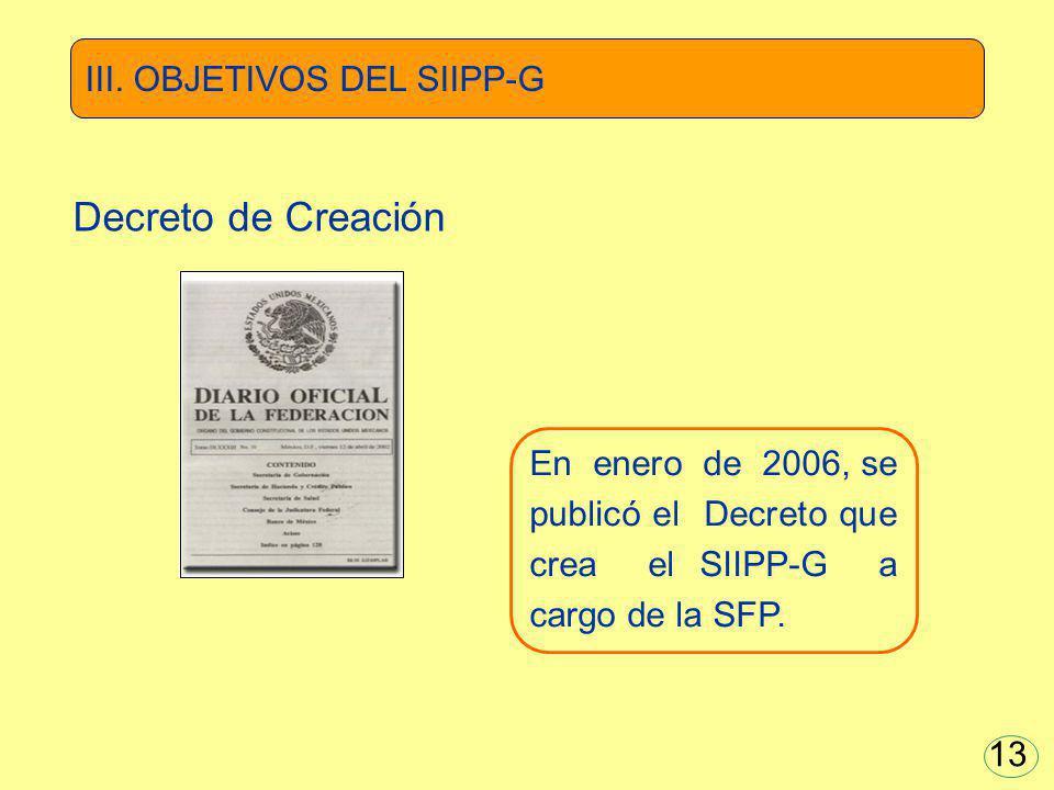 En enero de 2006, se publicó el Decreto que crea el SIIPP-G a cargo de la SFP. III. OBJETIVOS DEL SIIPP-G Decreto de Creación 13