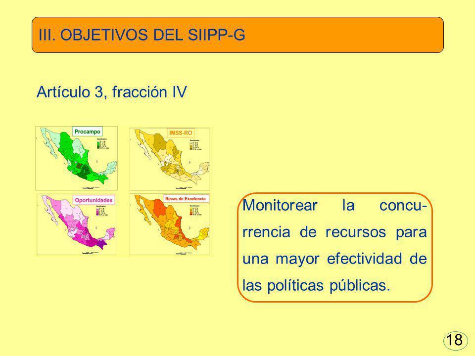 Monitorear la concu- rrencia de recursos para una mayor efectividad de las políticas públicas. III. OBJETIVOS DEL SIIPP-G Artículo 3, fracción IV 18