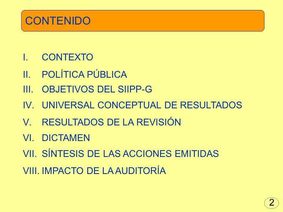 Congruencia Cobertura Eficacia Eficiencia Economía Competencia Percepción 53 CONTENIDO DE LOS RESULTADOS
