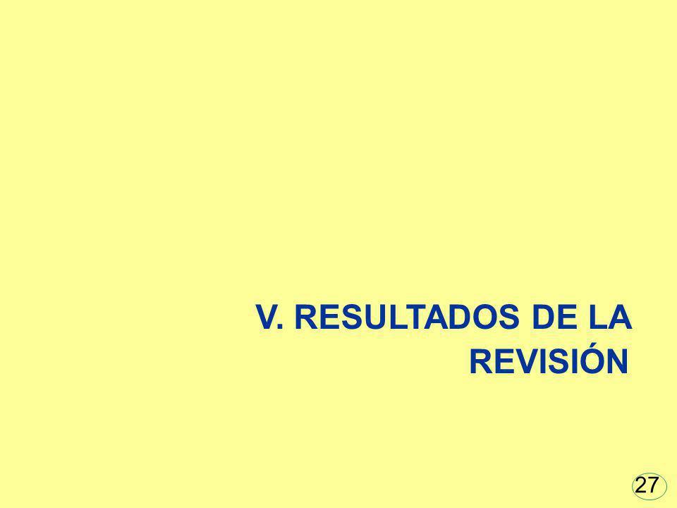 V. RESULTADOS DE LA REVISIÓN 27