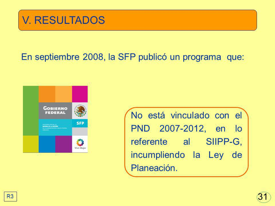 V. RESULTADOS No está vinculado con el PND 2007-2012, en lo referente al SIIPP-G, incumpliendo la Ley de Planeación. En septiembre 2008, la SFP public