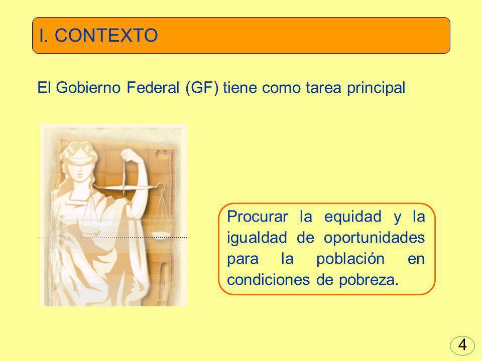 Procurar la equidad y la igualdad de oportunidades para la población en condiciones de pobreza. El Gobierno Federal (GF) tiene como tarea principal I.