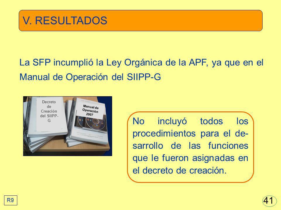 V. RESULTADOS No incluyó todos los procedimientos para el de- sarrollo de las funciones que le fueron asignadas en el decreto de creación. La SFP incu