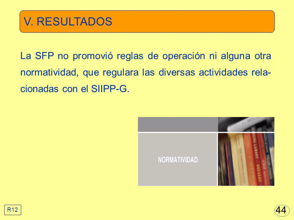 V. RESULTADOS La SFP no promovió reglas de operación ni alguna otra normatividad, que regulara las diversas actividades rela- cionadas con el SIIPP-G.