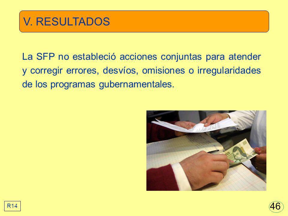 V. RESULTADOS La SFP no estableció acciones conjuntas para atender y corregir errores, desvíos, omisiones o irregularidades de los programas gubername