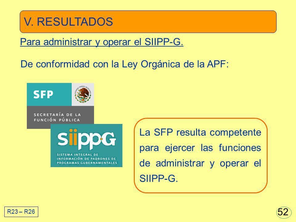 V. RESULTADOS La SFP resulta competente para ejercer las funciones de administrar y operar el SIIPP-G. De conformidad con la Ley Orgánica de la APF: R