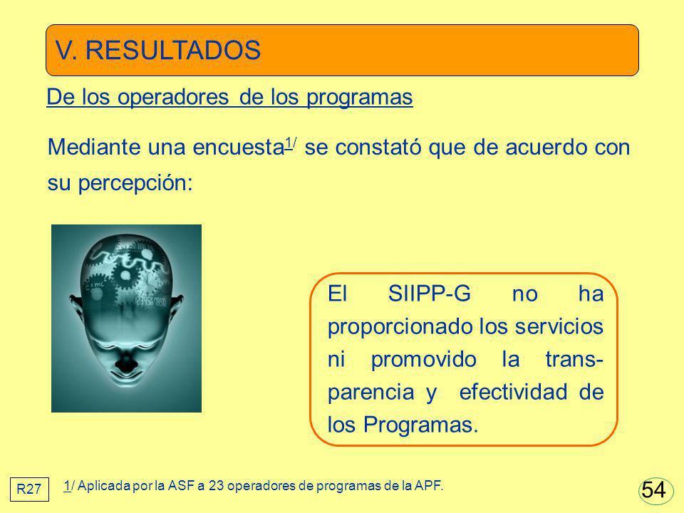 V. RESULTADOS El SIIPP-G no ha proporcionado los servicios ni promovido la trans- parencia y efectividad de los Programas. Mediante una encuesta 1/ se