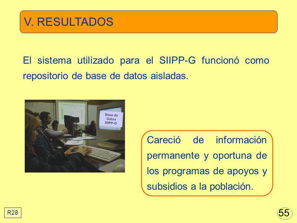 V. RESULTADOS Careció de información permanente y oportuna de los programas de apoyos y subsidios a la población. Base de Datos SIIPP-G El sistema uti