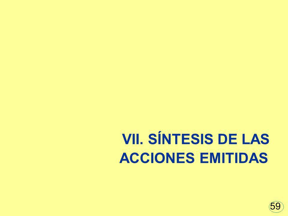 VII. SÍNTESIS DE LAS ACCIONES EMITIDAS 59