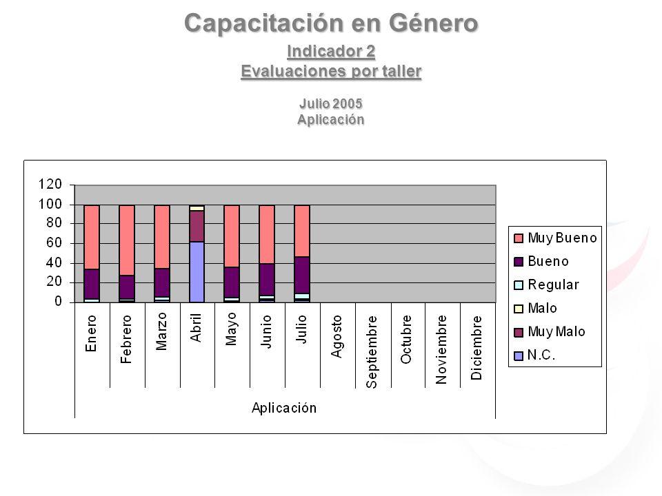 Capacitación en Género Indicador 2 Evaluaciones por taller Julio 2005 Aplicación