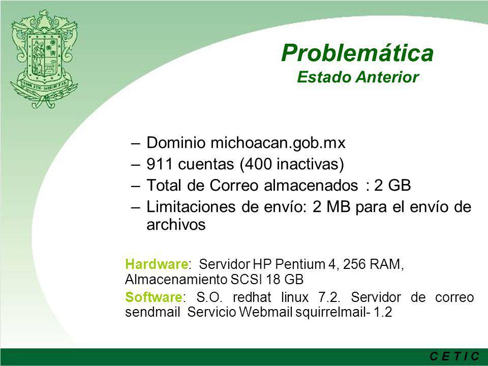 C E T I C Objetivos de la Solución Proveer a todos los servidores públicos del Gobierno del Estado de una cuenta de correo electrónico que permita satisfacer las necesidades de comunicación, auxilie en la función de la administración pública y otorgue una identidad al Gobierno de Michoacán en Internet.