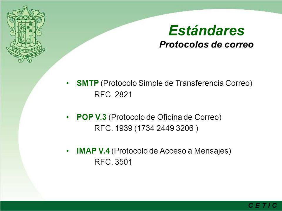 C E T I C Opciones Tecnológicas SMTP – Postfix, Qmail, Sendmail ServidorSeguridadDesempeño Estado de madurez BD Soportadas Auth SMTP Formato mailbox Soporte de Quota Integración LDAP PostfixAltaAlto Ldap / MySQL Si (uso de SASL) Maildir/m box SISencilla/doc SendmailMuy altaBajoAlto Ldap / MySQL Parchado Maildir/m box ParchadoSencilla QmailBajaAltoMedio LdapParchadoMaildirNOCompleja POP/IMAP – Courier-Imap, Cyrus Interfaz adm.