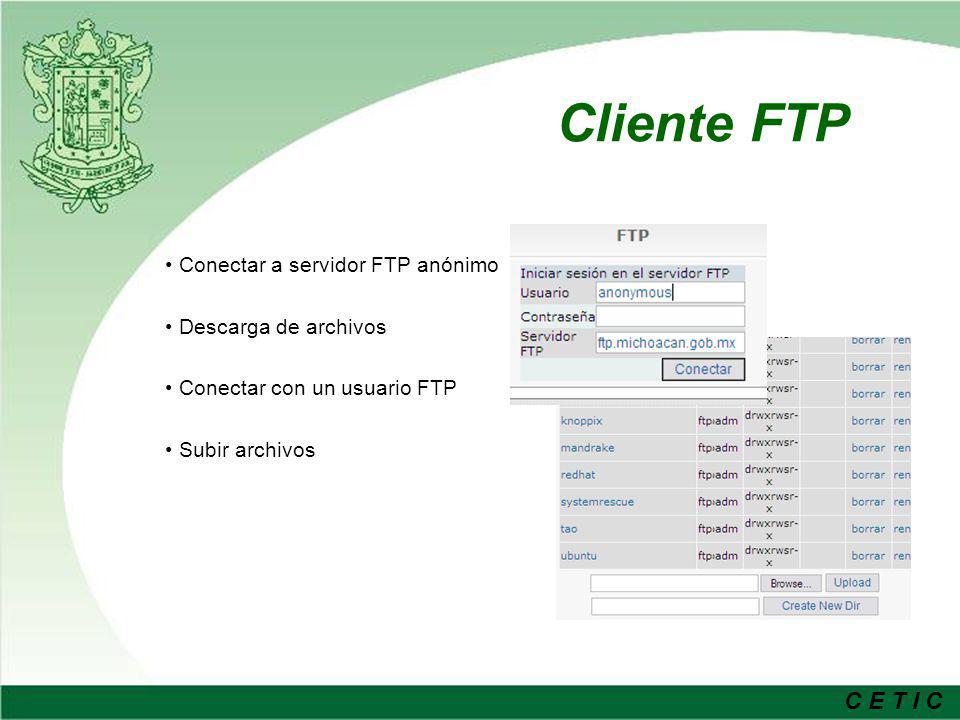 C E T I C Cliente Correo Conexión a Servidor Pop o Imap Varias cuentas de usuario Carpetas Personales Búsqueda avanzada de correos Envío de Archivos Relación con modulo de Directorio de Contactos.