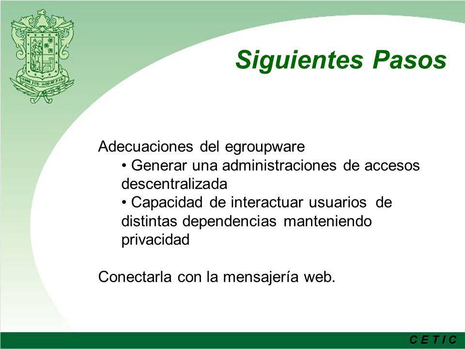 C E T I C Siguientes Pasos Unificar los Servicios Electrónicos en un solo directorio de acceso Usuario y Contraseña únicos Directorio Actualizado Actualización constante y búsqueda de nuevas tecnologías