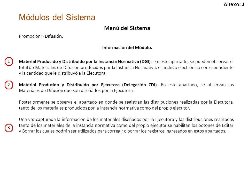 Módulos del Sistema Menú del Sistema Promoción > Difusión.