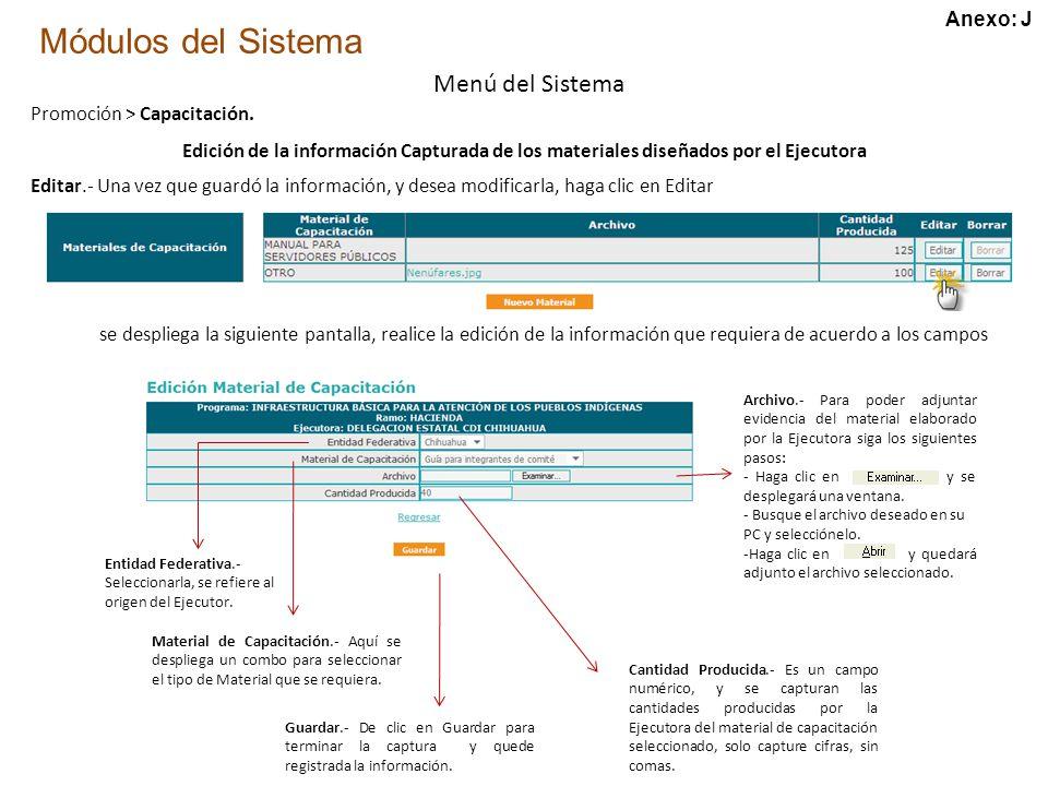 Módulos del Sistema Menú del Sistema Promoción > Capacitación.