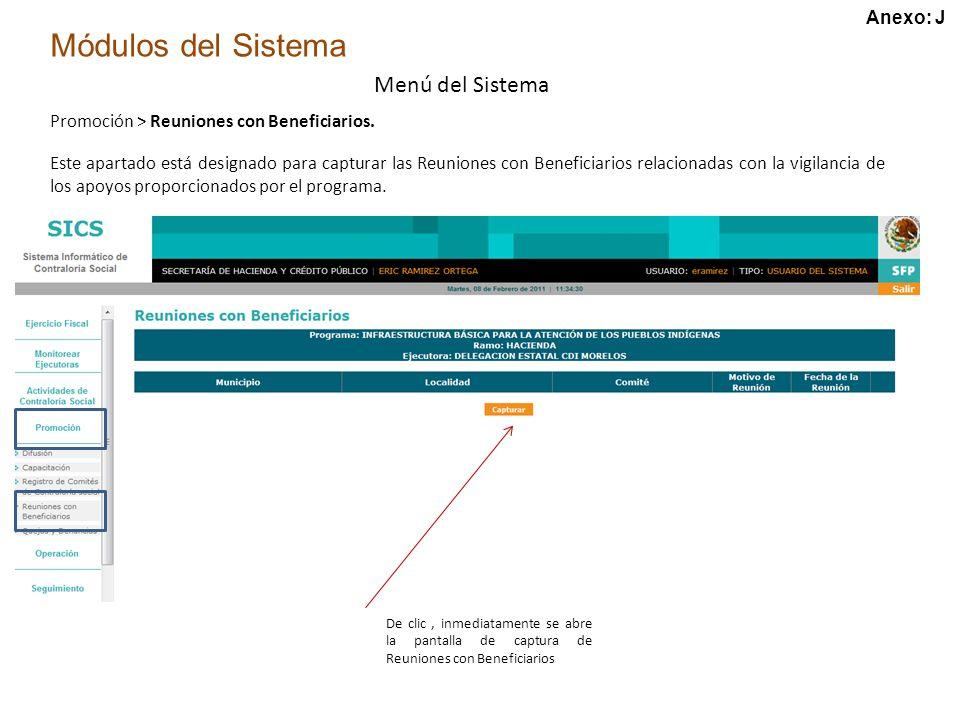 Módulos del Sistema Menú del Sistema Promoción > Reuniones con Beneficiarios.