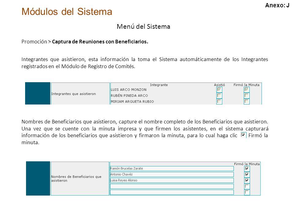 Módulos del Sistema Menú del Sistema Promoción > Captura de Reuniones con Beneficiarios.