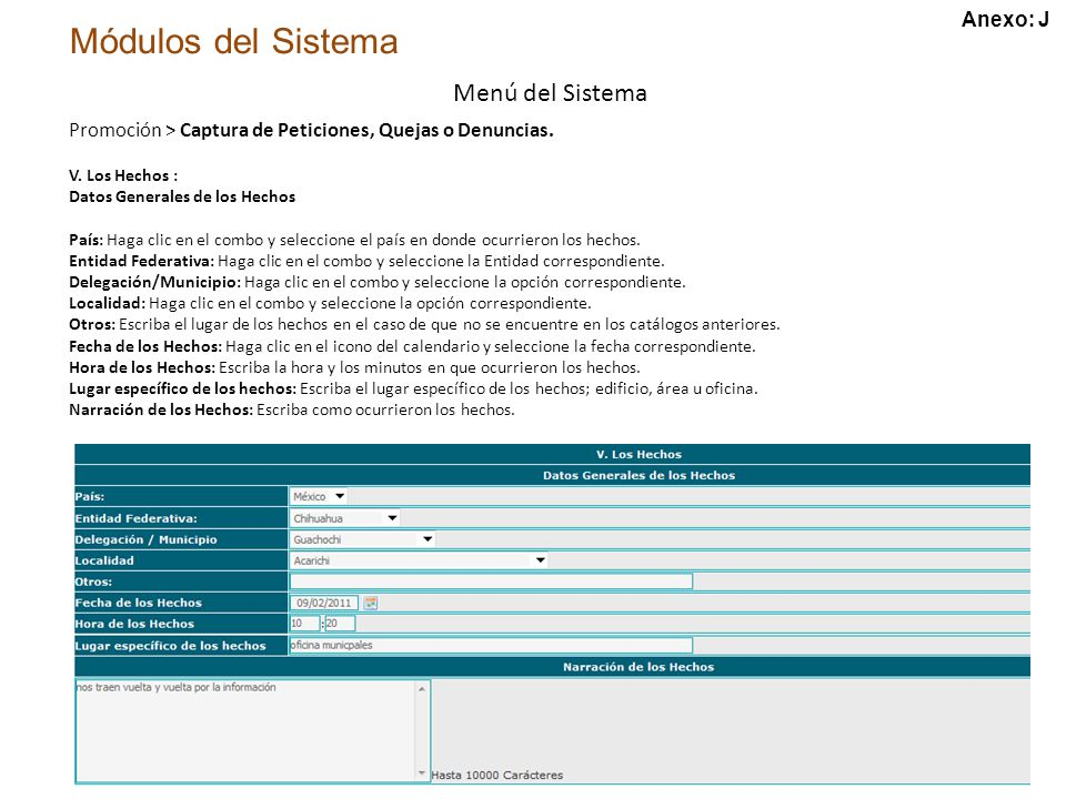 Módulos del Sistema Menú del Sistema V.
