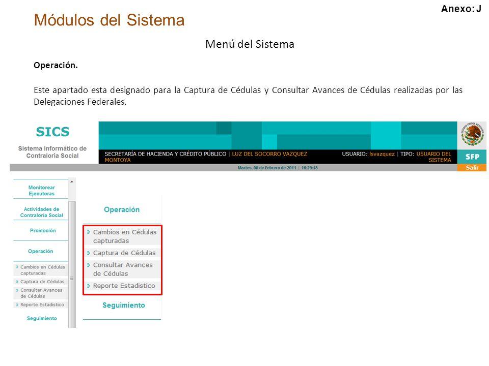 Módulos del Sistema Menú del Sistema Operación.