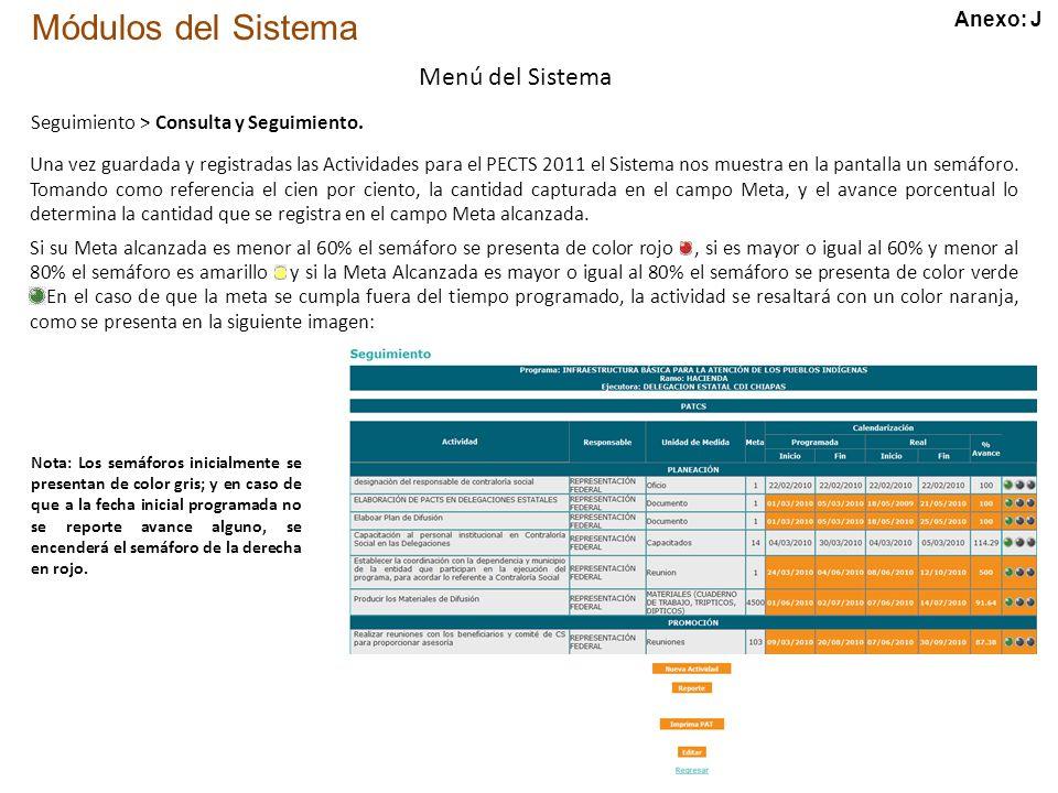 Módulos del Sistema Menú del Sistema Seguimiento > Consulta y Seguimiento.